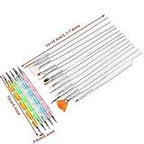 Ranvi pinceles para uñas, plumas punteadas marmoleo que detallan herramientas para pintar pintura 20pcs kit - lo mejor para el arte del clavo y la pintura facial detallada (blanco)