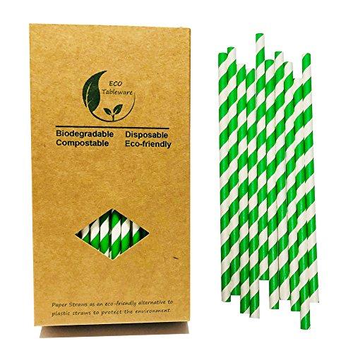 Trinkhalme aus Papier, spiralgestreift, biologisch abbaubar, Weißgrün