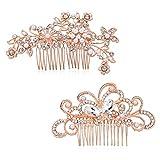 Czemo 2 pezzi Forcine per Capelli Perle Fermaglio a Pettine Sposa Forcine Fermagli Spirali per Capelli con Strass Cristalli Perni di Capelli Nuziali