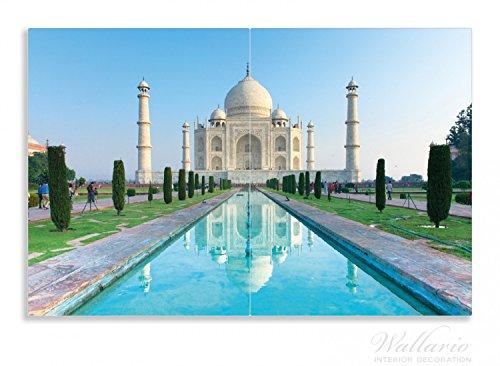 Wallario Herdabdeckplatte / Spritzschutz aus Glas, 2-teilig, 80x52cm, für Ceran- und Induktionsherde, Motiv Taj Mahal - Mausoleum in Indien