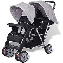 Festnight Geschwisterwagen Kinderwagen Geschwisterkinderwagen aus Stahl + Oxfordgewebe für 1-2 Kinder bis zu je 15kg - Grau und Schwarz