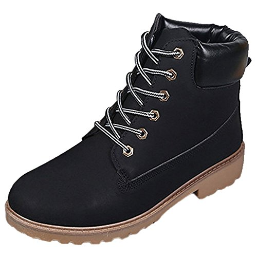 Minetom Damen Schnür Stiefeletten Biker Boots Stiefel Warm Gefütterte Schuhe Robuste Worker Stiefel Schwarz EU 39 -