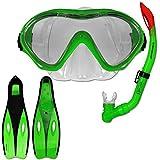Tauchset Dunlop mit Farb- und Größenauswahl - Schnorchel Set - Tauchermaske - Schnorchel - Schwimmflossen (Grün, 32-34)