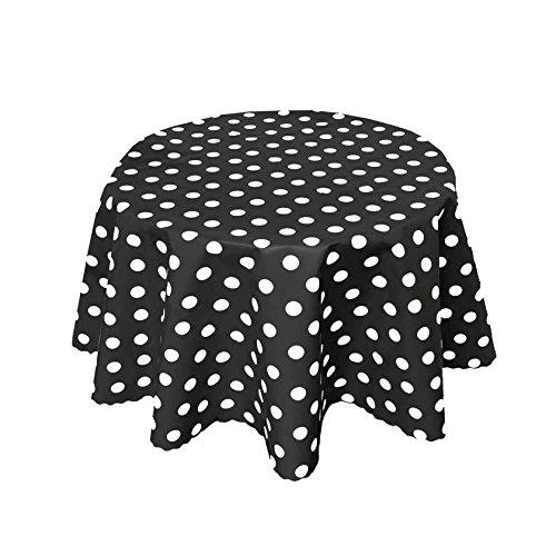 Große Runde Schwarze Tischdecken (Tischdecke Wachstuch Abwaschbar