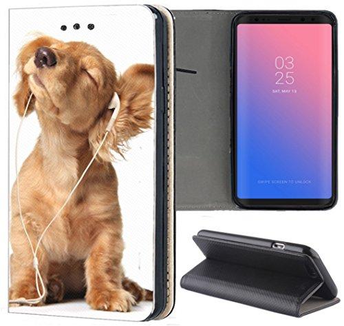 Samsung Galaxy A6 2018 Hülle Premium Smart Einseitig Flipcover Hülle Samsung A6 2018 Flip Case Handyhülle Galaxy A6 2018 Motiv (1023 H& H&e Baby Welpe Braun)