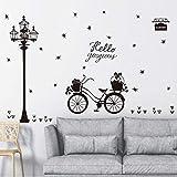 Stars Wall Decal Street Lamp Bike Wall Sticker Bedroom Hallway Background Room Vinyl Home Decor Hot Sale,A