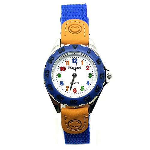 BOBIJOO Jewelry - Armbanduhr Kinder Mädchen Jungen Fun Pädagogischen Quarz Lernen, 4 Farben Zur Auswahl - Verstellbar, (Farbe) Blau