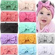 JOYOYO 12 Pcs Baby Headbands with Bows Wide Headbands Super Stretchy Soft Elastic Headbands and Hair Bows Baby