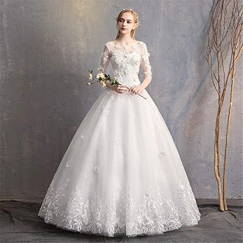 BTTNW WE Hochzeitskleid Brautkleid Womens Tulle Appliques Lange Brautkleider Brautkleider Für Hochzeit besondere Anlässe (Farbe : White, Size : L) White Lace Floral Applique