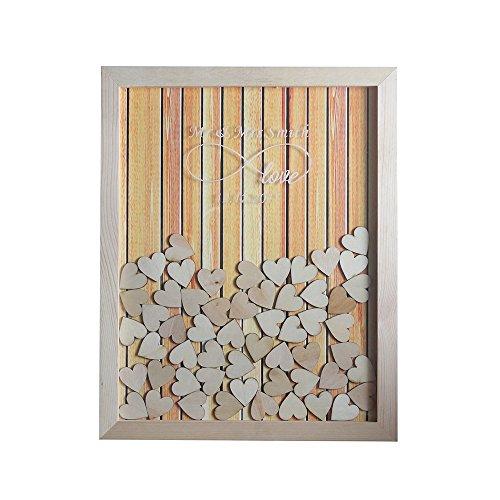 Tiffany Vincent Personalisierter rustikaler Holzrahmen für Hochzeiten, Gästebuch, Alternativer Rahmen, personalisierbarer Namen, 35 x 30 cm, mit 120 Holzherzen, Holz, Wood Pattern#9, 40 x 50 cm