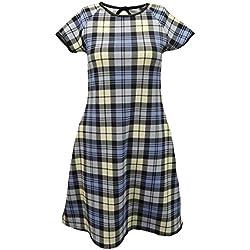 Para mujer New Swing de cuadros de diseño de cuadros escoceses de cambio de marchas de destornilladores de manga corta para tamaño pequeño e instrucciones para hacer vestidos en la parte superior y mediano y grande