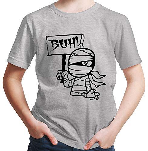 Sensenmann Plus Kostüm - HARIZ  Jungen T-Shirt Mumie Buh Halloween Kostüm Horror Umhang Plus Geschenkkarte Hell Grau 152/12-13 Jahre