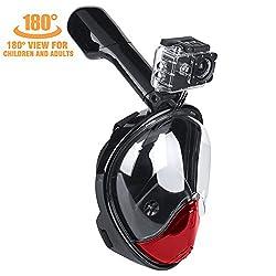LeaningTech® Schnorchelset Schnorchelmaske 180°Vollmaske S3 2nd Generation Anti-Fog Anti-Leak Taucherbrille Tauchermaske Größe/Farbwahl für GoPro SJCAM Kamera