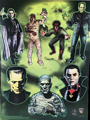 Unique Einzigartige Klassische Monster Halloween Fensterklammern - Dracula, Frankenstein, Mama und Wolfman (The Wolfman Kostüm)