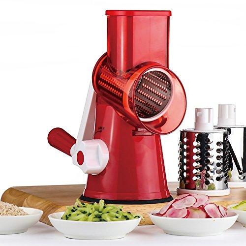 Fjiujin,Multifunktionales manuelles Gemüsekäse-Shredder-Küchenzubehör der Trommel-Art(color:ROT)