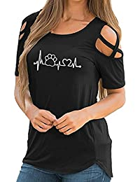 698f0c88a36c08 I Really Don t Care Do U, Solike T-Shirt Femme Été Chic Tops Épaule Ouverte  Imprimé T-Shirt à Manches Courtes Hauts…