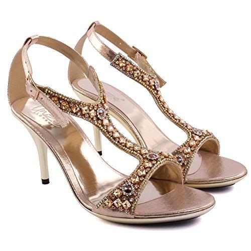 Unze Le nuove donne Ladies 'Goshh' Diamante Impreziosito T-bar Mid tacco alto promenade del partito di giorno delle nozze nuziale cinturino alla caviglia Tacchi FORMATO BRITANNICO 3-8 Oro