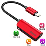 iPhone 8 / 7 Plus Adapter,Baseus Dual Lightning Headphone Audio & Charge & Call Adapter Splitter for iPhone X / iPhone 7 /8 Plus / iPad / iPod Support for iOS 10 ~ iOS 11 and Later (L37 - Red)