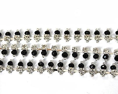 1m Strass Chaîne Noir/perles Bijoux Cristal Sew Colle sur gâteaux par Trimming Shop