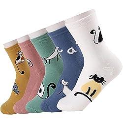 Hishiny 5 pares Calcetines Algodón mujer Calcetines la algodón Cómodo y Respirable del tejido absorbe el sudor, Calcetines de algodón, cómodos, con diseños de gatos (Largo Cola Gato)