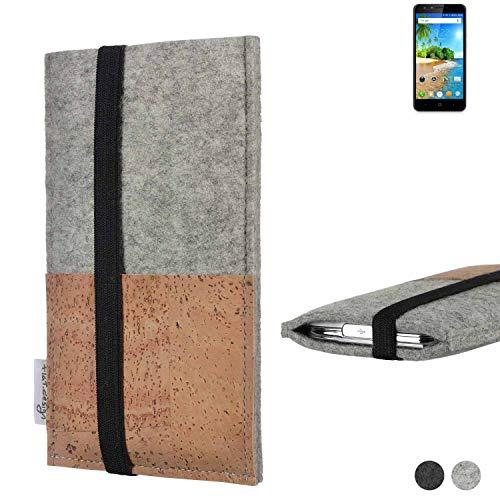 flat.design Handy Hülle Sintra für Doogee Y6C Handytasche Filz Tasche Schutz Kartenfach Case Kork
