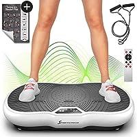 Sportstech Plate-Forme vibrante VP200 Technologie Oscillation Bluetooth, Affiche Incluse, Sangles Cordes de Traction télécommande, Haut-parleurs intégrés Plateforme oscillatoire Massage