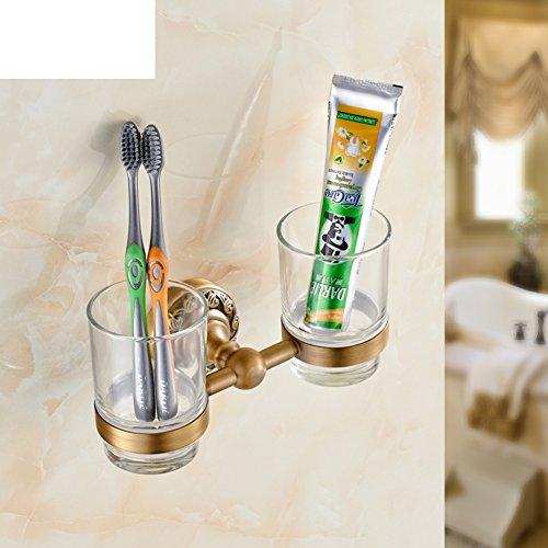 Glas-antik-zahnbürste-halter (Kupfer Antik Doppel-Becherhalter Zahnbürste Tassen-Halter-Set und Becher Glas Becher)