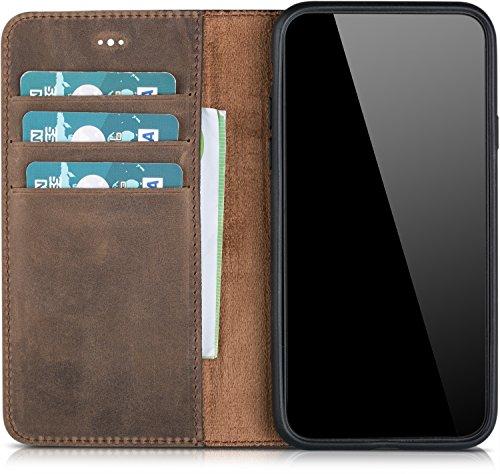 Blumax Apple iPhone X Handytasche echt Leder, integrierte Silikon Schutzhülle, Kartenfächer, ohne Magnetverschluss, Standfunktion, Vintage braun