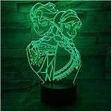 Veilleuses 3D Reine des neiges Princesse Elsa Anna Touch Coloré LED 3D Lampe de...