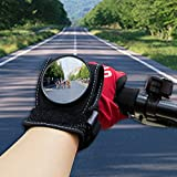 WISAMIC Wide Angle Cycling Bicycle Bike Rear View Mirror Wrist Guards Wristbands Back Mirror Black Xmas Gift