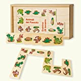 Dida - Domino Animales del pasado. Dinosaurios, tirannosauro, brontosauro ilustrados en el domino juego de mesa con dados y caja de madera para niños.