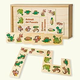 Dida – Domino Animali del Passato. Dinosauri, Tirannosauro, brontosauro illustrati nel Domino Gioco da Tavolo con Tessere e Scatola di Legno per Bambini.