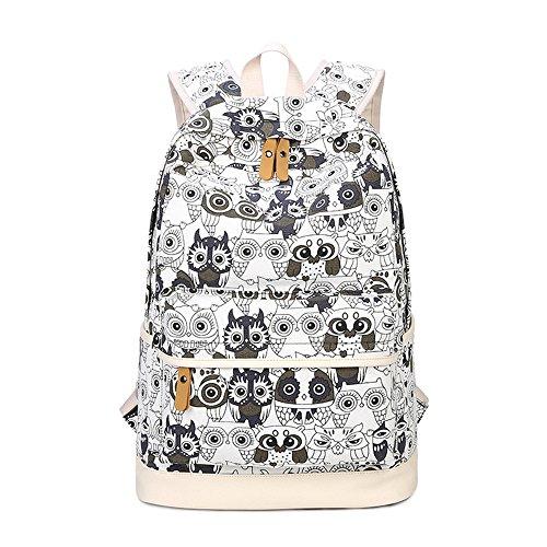 Eule Gedruckt Lässige Leinwand Rucksack Schulranzen Schultertasche Laptop Tasche Rucksack Bleistift Tasche für Jugendlich Junge Mädchen Black/White Owl