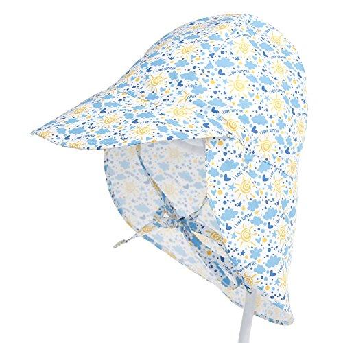 iKulilky Unisex Kinder Fischerhut Sonnenschutz Hüte Safari Cap mit Nackenschutz Sommermütze Schildmütze Bindemütze Anti UV Babymütze Sahara Cap
