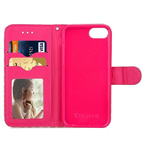 iPhone Case Cover Mischfarben PU-lederner Kasten-Mappen-Kasten mit Karte Bargeld-Schlitz-helle Linie-Muster-Kasten-Standplatz-weiche TPU Silikon-Abdeckung für IPhone 7 ( Color : Purple , Size : IPhone Red