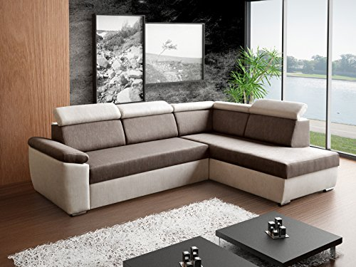 Ecksofa Sofa Eckcouch Couch mit Schlaffunktion und Bettkasten Ottomane L-Form Schlafsofa Bettsofa Polstergarnitur Wohnlandschaft – MODENA