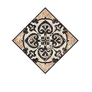 VNEIRW 10 Stück Stickerfliesen 10×10cm Grau,Vintage Motiv Marokkanisch Fliesenfolie Fliesenaufkleber DIY Mosaik-Wandaufkleber für Küche Bad Boden und Wand (G)