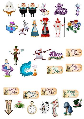 fstellen, Cake Topper, 31Stück, mit Figuren aus Alice im Wunderland, Verrückter Hutmacher, Teeparty, Premium-Esspapier, Kuchenoblaten ()