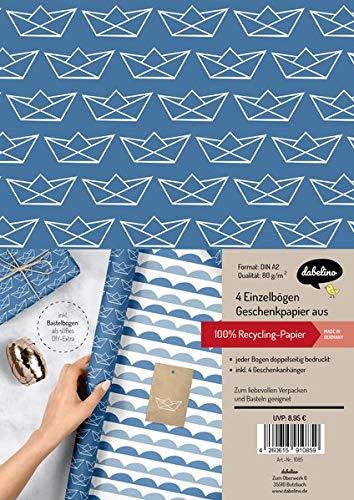 Geschenkpapier-Set: Papierboote (zur Geburt, Taufe, Kommunion, Konfirmation): 4x Einzelbögen + 4x Geschenkanhänger