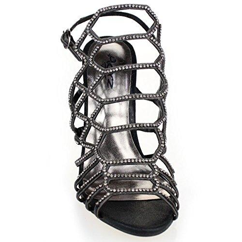 Aarz Femmes Mesdames Soirée de mariage Party Prom High Heel Sandal Diamante Bridal Chaussures Taille (Or, Argent, Noir, Rose) Noir