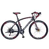 YBCN Bicicleta de Carretera, 27 Pulgadas, 21 velocidades, Doble Disco de Freno 700c Ciclismo Bicicleta de Carretera para Adultos, Ciclismo al Aire Libre, Carreras de Viaje,Black