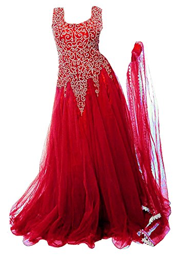 Clickedia Kids Heavy Net Embroidered Red Floor Length Gown - traditional wear ( 8-11 yrs)- Semi-Stitched alterable