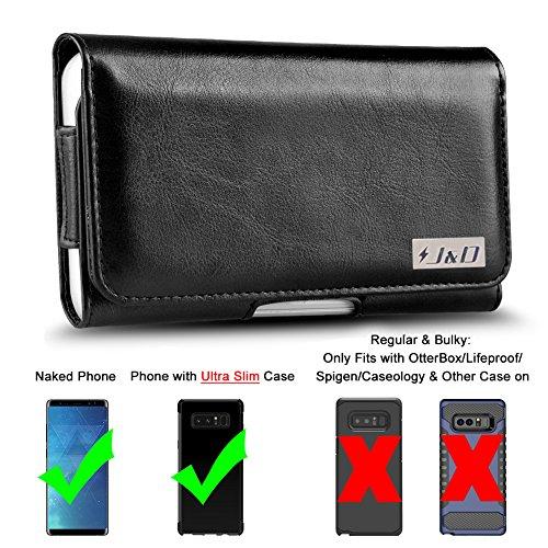 Galaxy Note 8 Holster, J&D PU-Leder Holster Handytasche mit Gürtelclip, Ausweishülle aus Leder für Samsung Galaxy Note 8 - Geeignet für nacktes Handy und Handy in einer schlanken Hülle