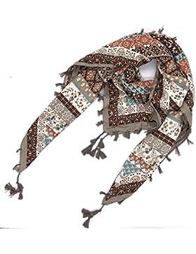Sciarpa ad anello con nappine iZoeL Sciarpe Fiore Fioritura Frange Boho Loop Sciarpa Stampa 110cm*110cm