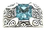 Avant Gems Herren - 925 Sterlingsilber Sterling-Silber 925 Quadratschliff Blautopas