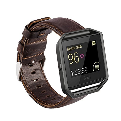 MroTech kompatibel für Fitbit Blaze Armband Leder Vintage Lederarmband Echtleder Uhrenarmband Uralt Stil Echtes Leder Uhrenband Ersatzband für Fit bit Blaze Smartwatch - kein Rahmen (Kaffee) (Xl Fitbit Band)