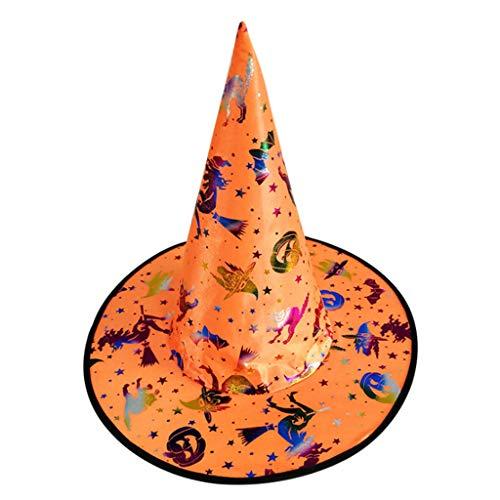 Kostüm Folie Hut - ruiruiNIE Mode Bunte Erwachsene Kinder Hexenzauberer Hut Folie Kürbis Muster Kostüm Halloween Party Maskerade Cosplay Kostüm-6#
