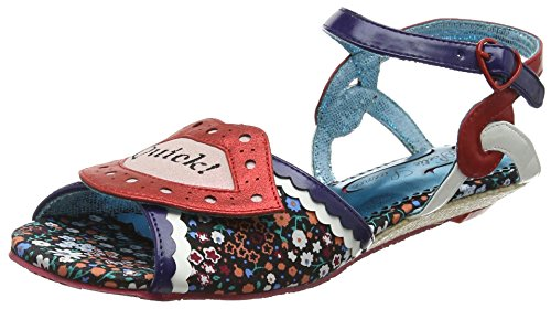 Poetic Licence by Irregular Choice Kiss Me, Sandalias con Punta Abierta para Mujer, Azul (Navy/Red a), 38 EU