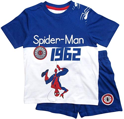 Spiderman Schlafanzug Ökotex Standard 100 Kurz Jungen (Weiß-Blau, 98)