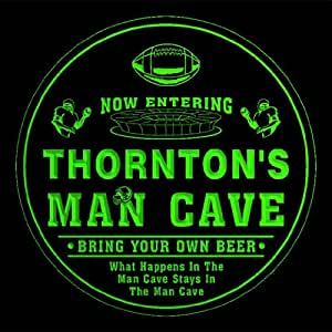 4x ccqa1354-g THORNTON'S Man Cave Football Bar Beer 3D Etched Engraved Drink Coasters